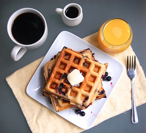 Whole Wheat Yeasted Blueberry Belgian Waffles