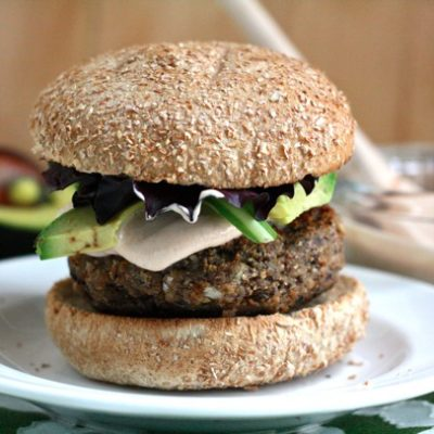 SPICY BLACK BEAN BURGERS WITH CHIPOTLE ADOBO SAUCE