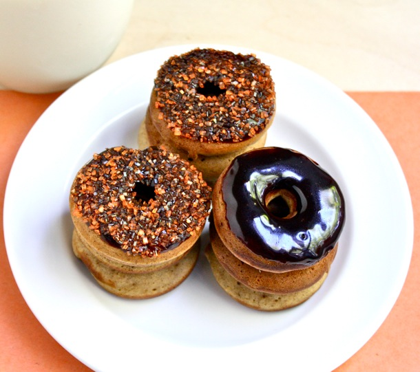 BAKED PUMPKIN BREAD DOUGHNUTS WITH CHOCOLATE GLAZE