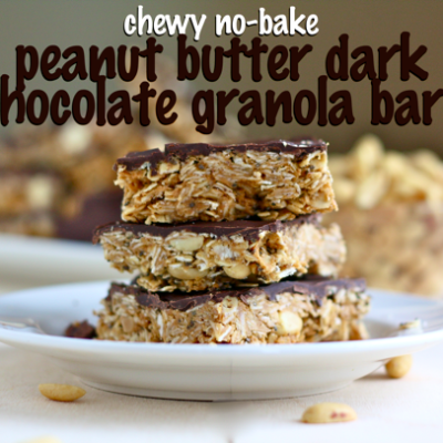 chewy no-bake peanut butter dark chocolate granola bars