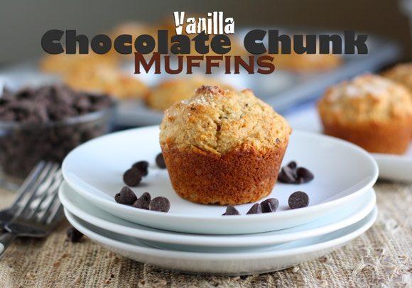 VANILLA CHOCOLATE CHUNK WHOLE GRAIN MUFFINS