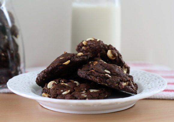TRIPLE CHOCOLATE (ALMOST!) VEGAN EVERYTHING COOKIES