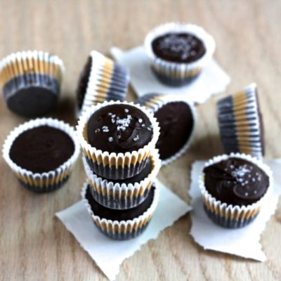 DARK CHOCOLATE PEANUT BUTTER CUPS WITH SEA SALT