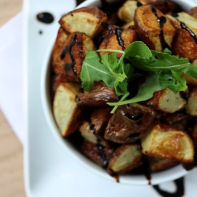 SIMPLE ROASTED RED POTATOES WITH BALSAMIC GLAZE