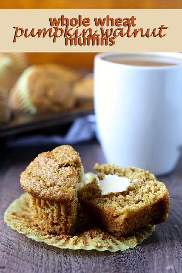 High-rising and delicious whole wheat pumpkin muffins loaded with fiber, vitamins and healthy fat. The perfect packable snack or on-the-go breakfast for Fall! // cait's plate