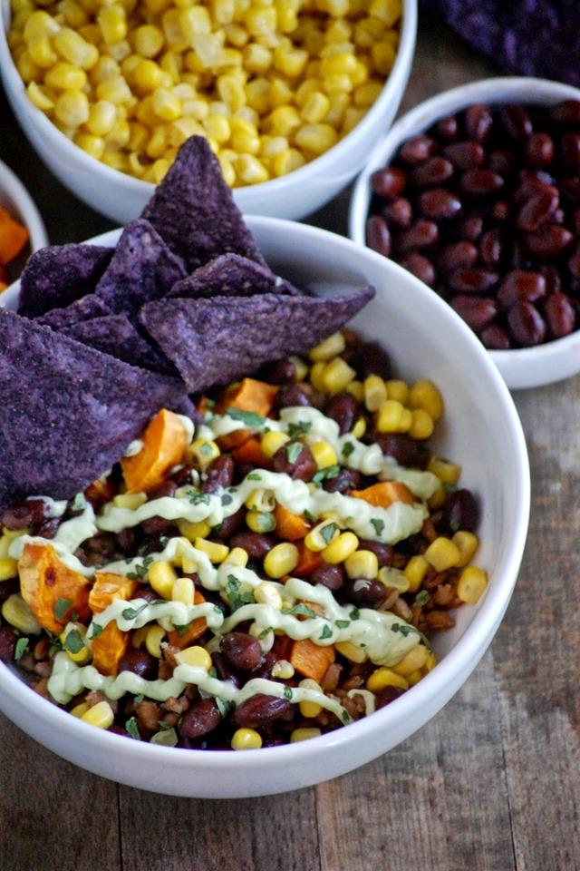 black bean, corn, sweet potato and farro bowl (with avocado yogurt sauce) // cait's plate
