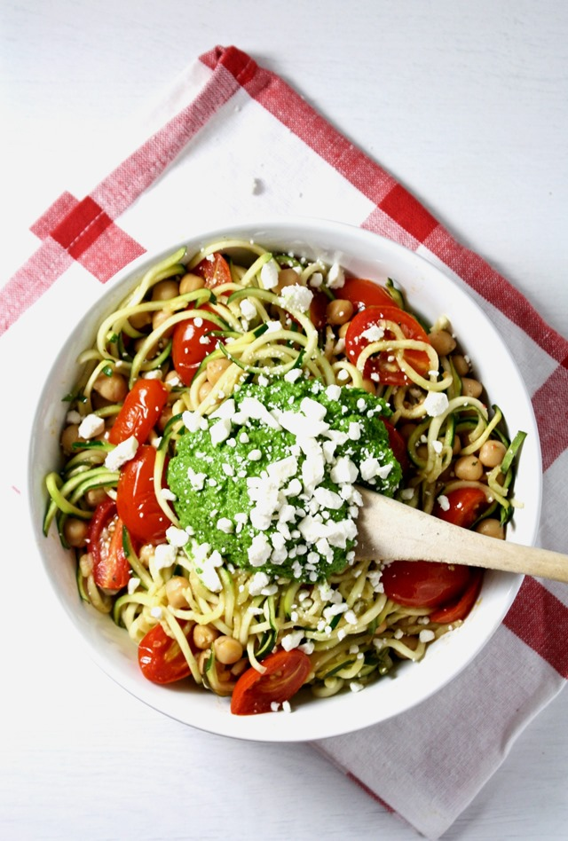 easy veggie-packed mediterranean zucchini noodles with kale walnut pesto - an easy and delicious way to get tons of nutrition in one dish! // cait's plate