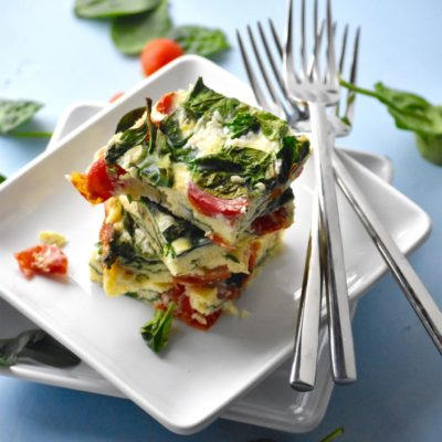 SPINACH, TOMATO AND MOZZARELLA EGG BAKE