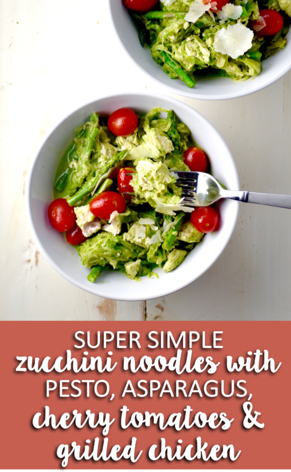 super simple zucchini noodles with pesto, asparagus, cherry tomatoes & grilled chicken - packed with veggies and on your table in under 30 minutes! // cait's plate