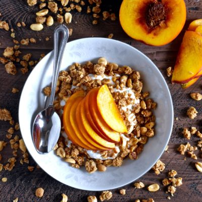 easiest ever peanut butter peach yogurt bowl