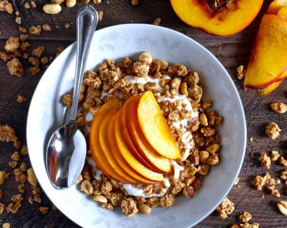 easiest ever peanut butter peach yogurt bowl