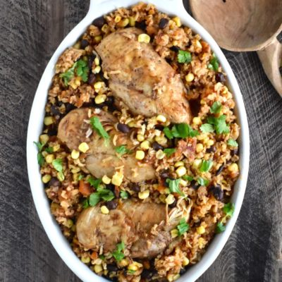 one-pot chipotle chicken, black bean and rice