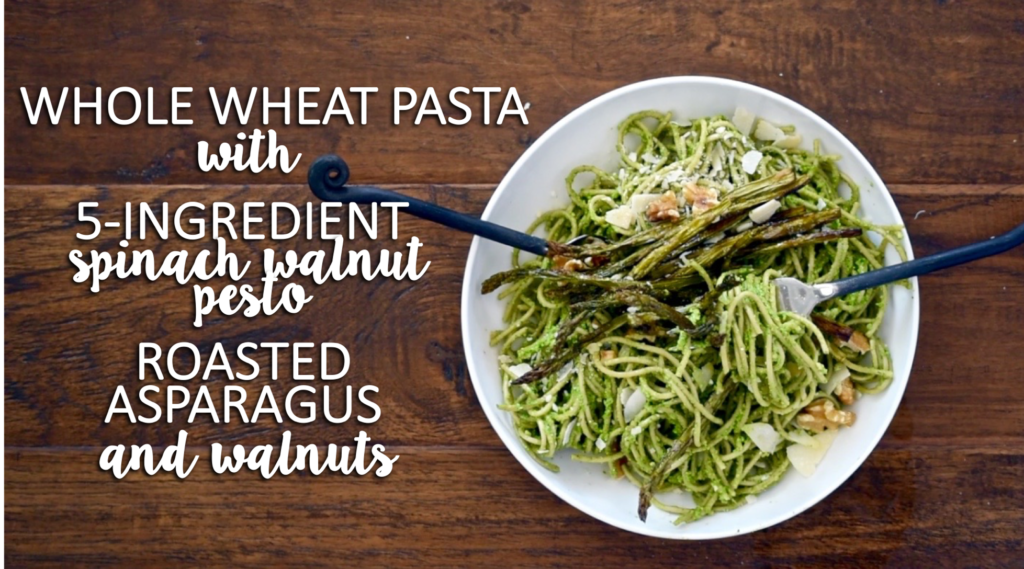 whole wheat pasta with 5-ingredient spinach walnut pesto, roasted asparagus and walnuts // cait's plate