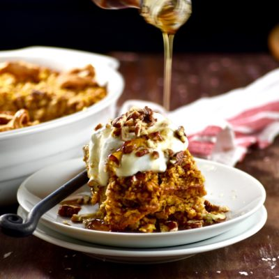 apple pumpkin pecan baked oatmeal