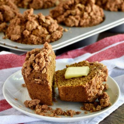 whole grain pumpkin apple muffins with oatmeal walnut streusel topping