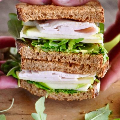 cheddar, apple & arugula turkey sandwich