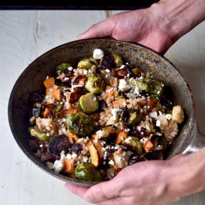 roasted harvest vegetable farro & feta bowl