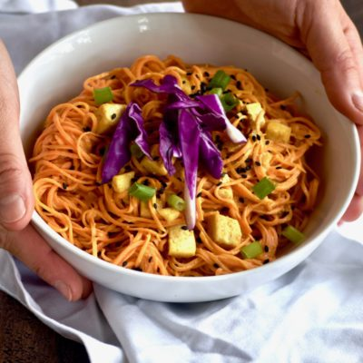 spicy sweet potato noodles with tofu