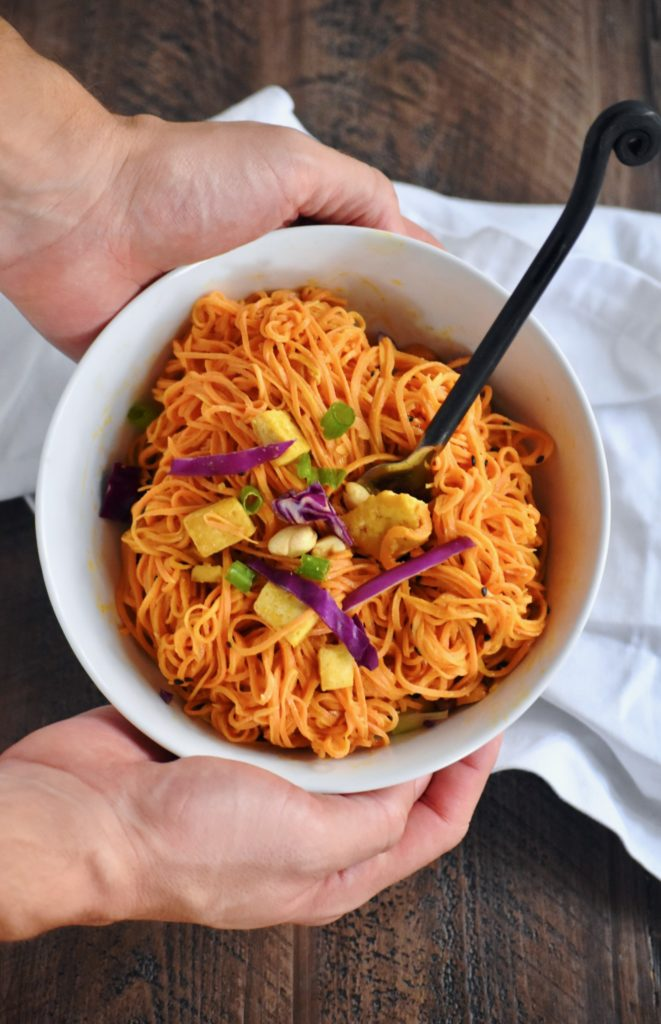 spicy sweet potato noodles with tofu - a quick and easy veggie-packed meal // cait's plate