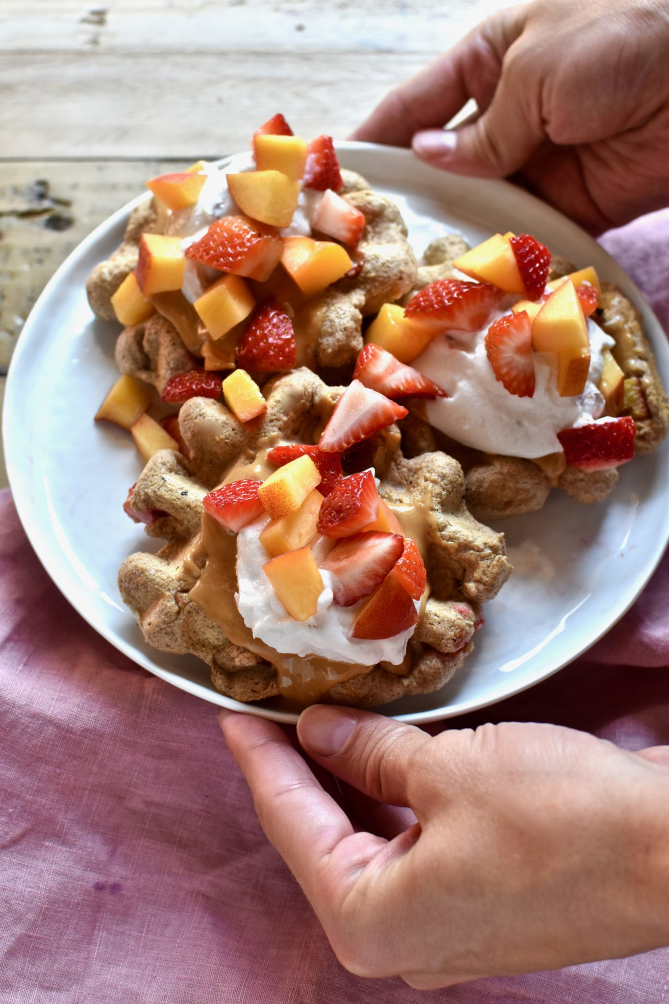 whole grain peach and strawberry cinnamon waffles // cait's plate