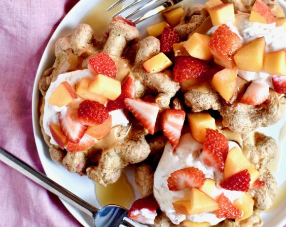 strawberry & peach whole grain waffles