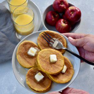 whole grain peanut butter pumpkin pancakes