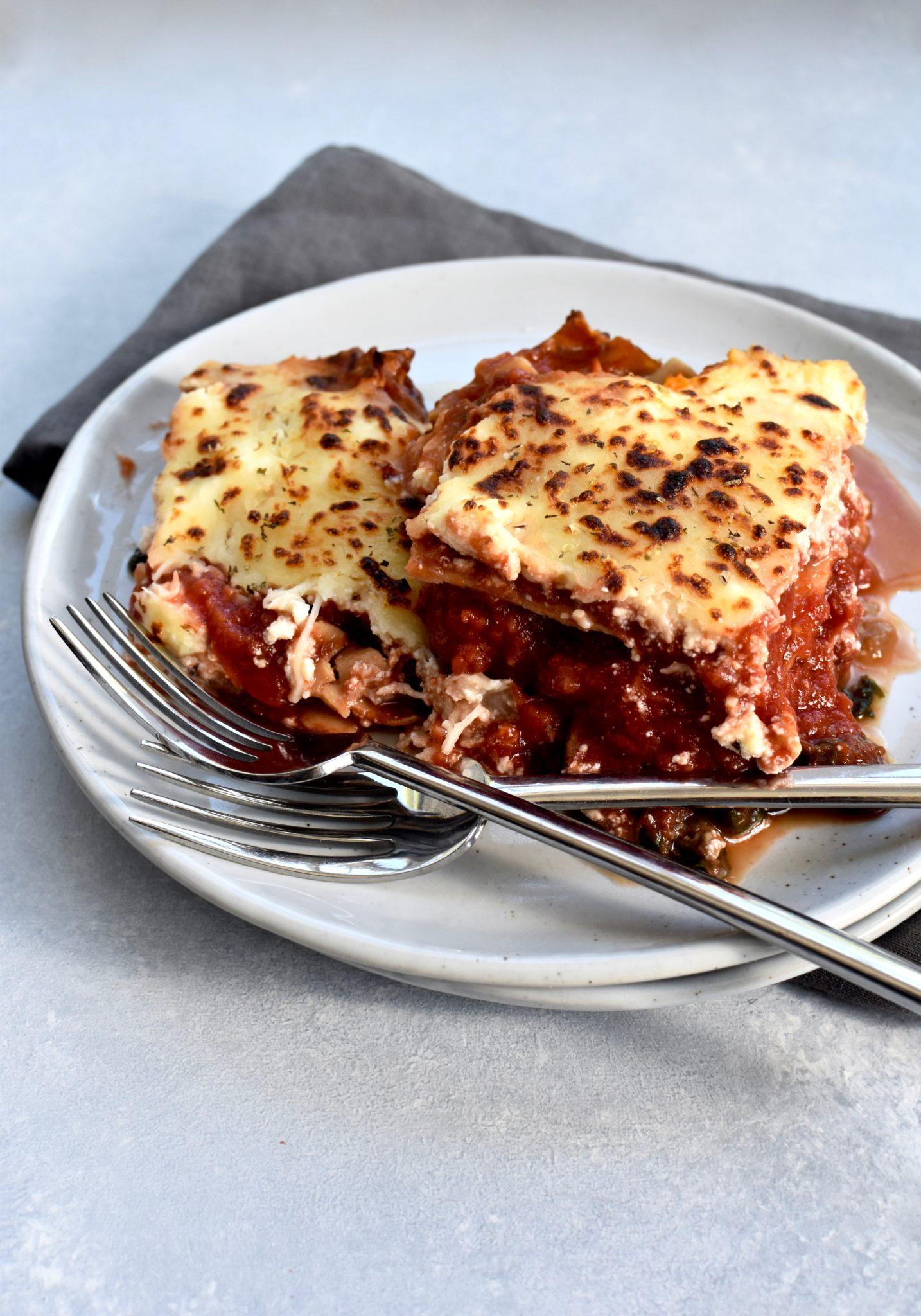 veggie-packed whole grain skillet lasagna // cait's plate