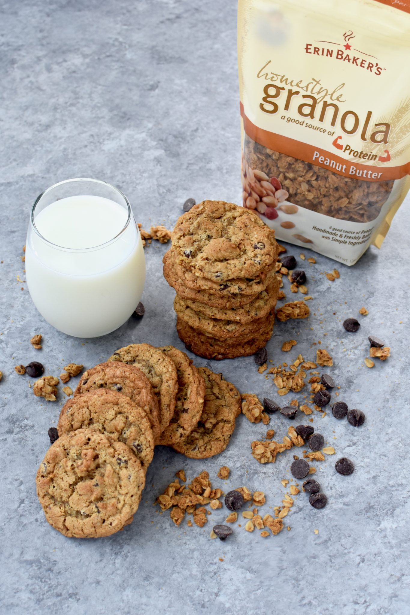 whole grain peanut butter chocolate chip granola cookies // cait's plate