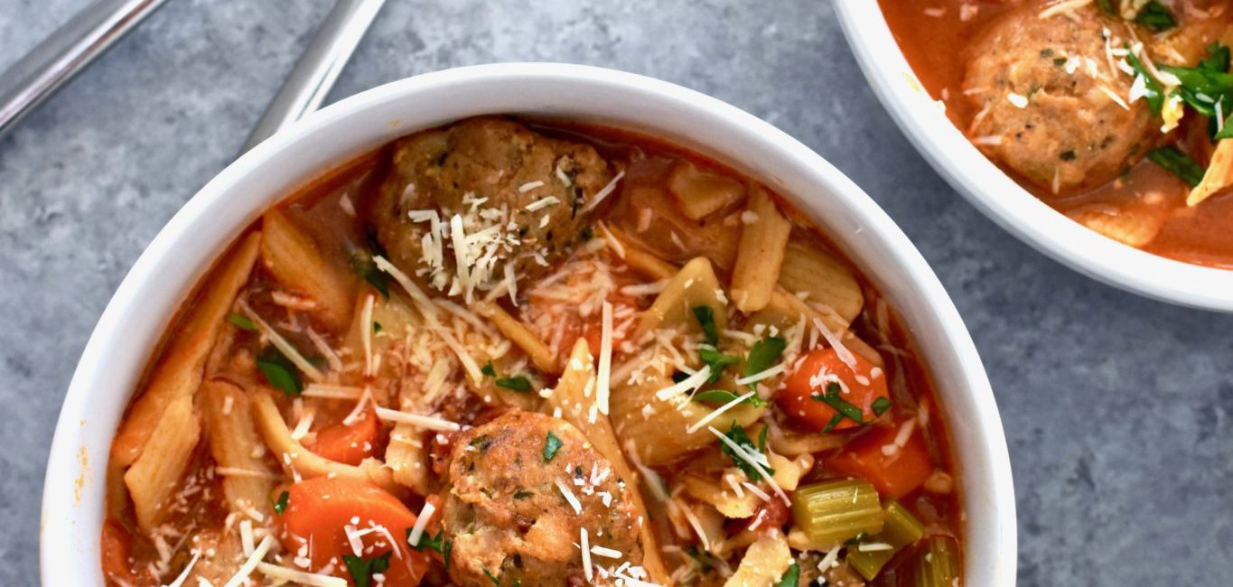 quick and easy veggie-packed meatball soup