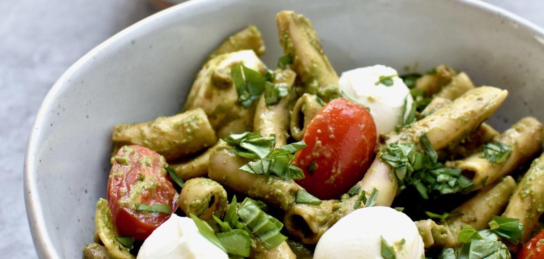 protein packed pesto caprese pasta