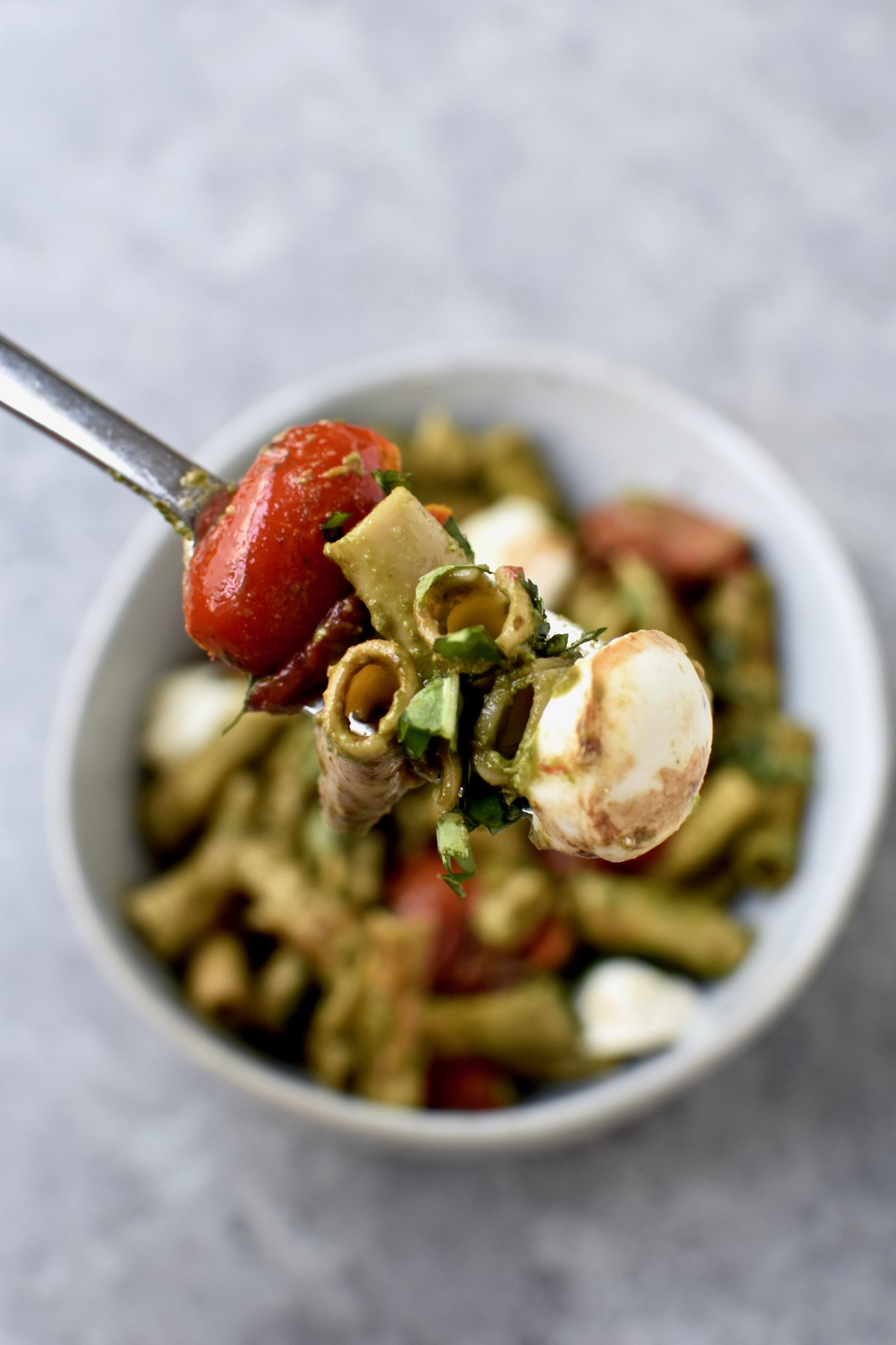 protein packed pesto caprese pasta // cait's plate