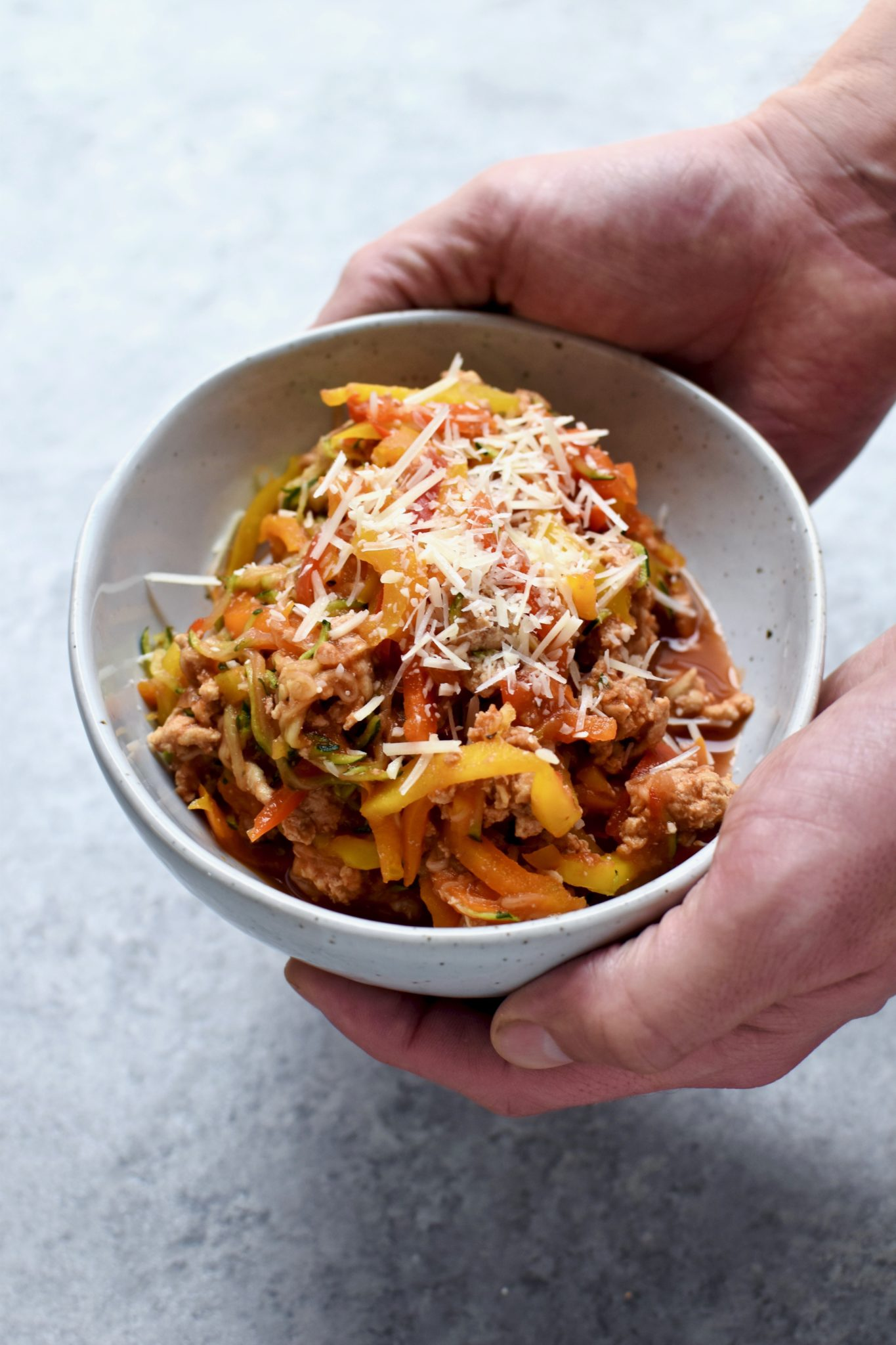 easy spiralized veggie & turkey marinara // cait's plate