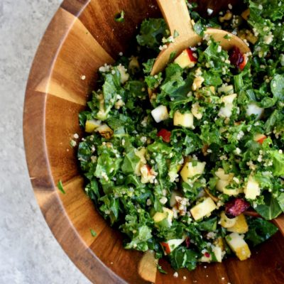 winter kale, quinoa, fruit & nut salad