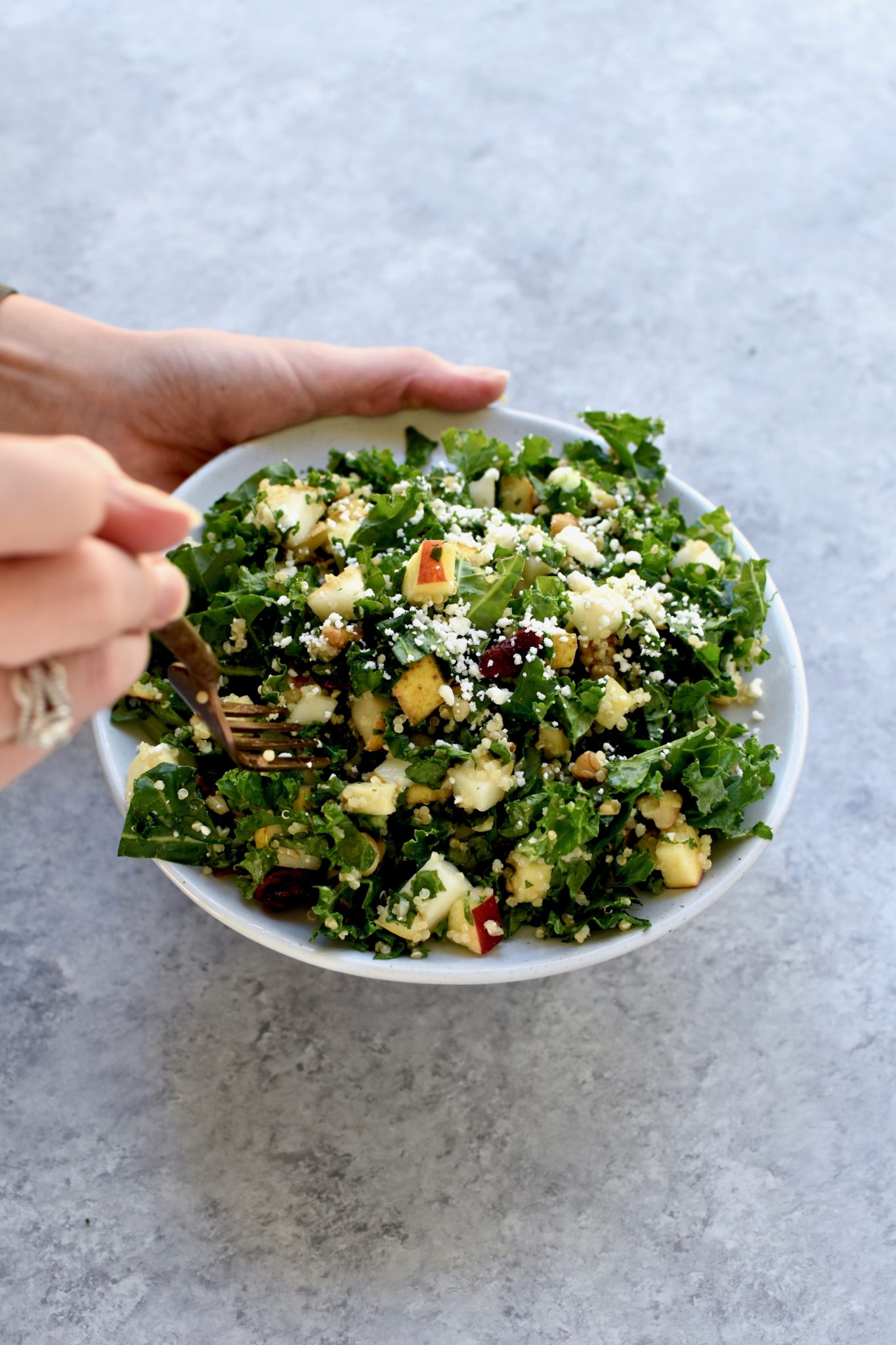winter kale, quinoa, fruit & nut salad // cait's plate
