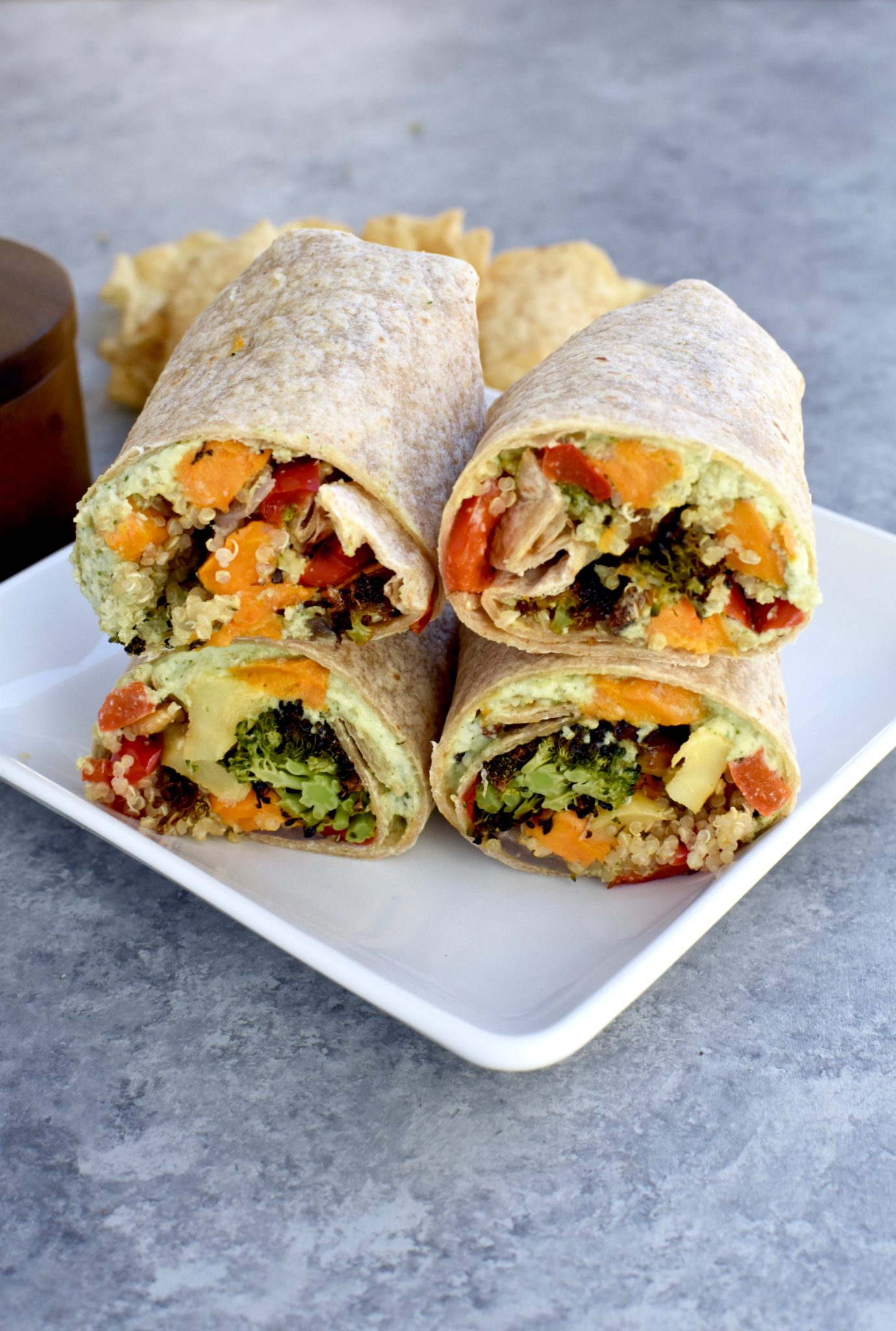 roasted veggie and quinoa wrap with cilantro lime cashew sauce // cait's plate