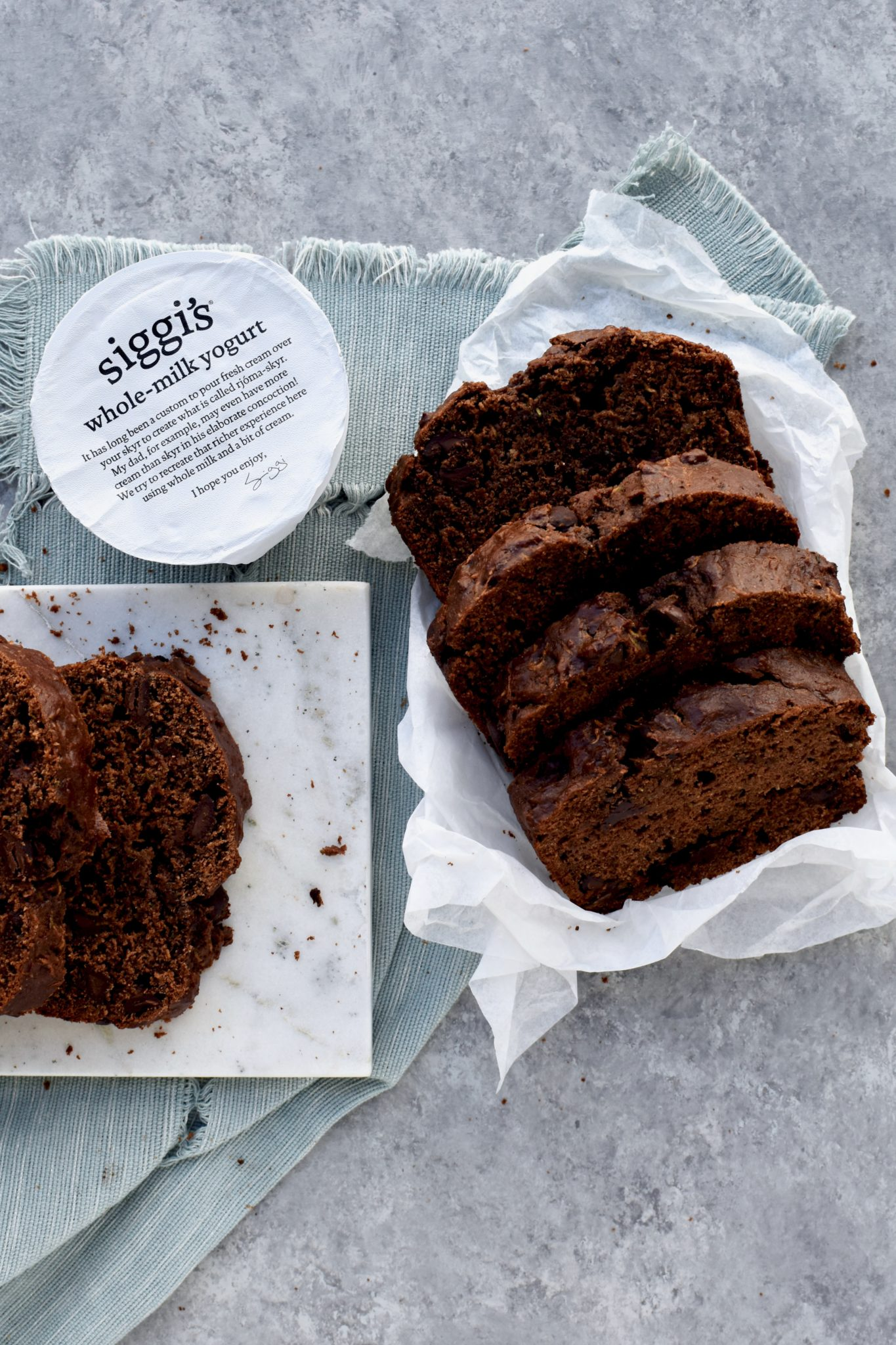whole grain double chocolate zucchini bread // cait's plate