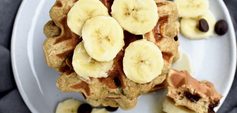 whole grain banana chocolate chip waffles