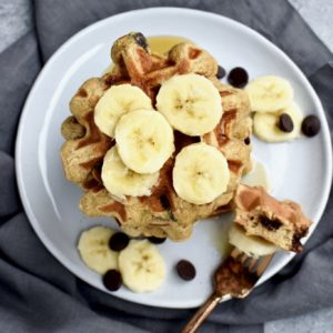 whole grain banana chocolate chip waffles