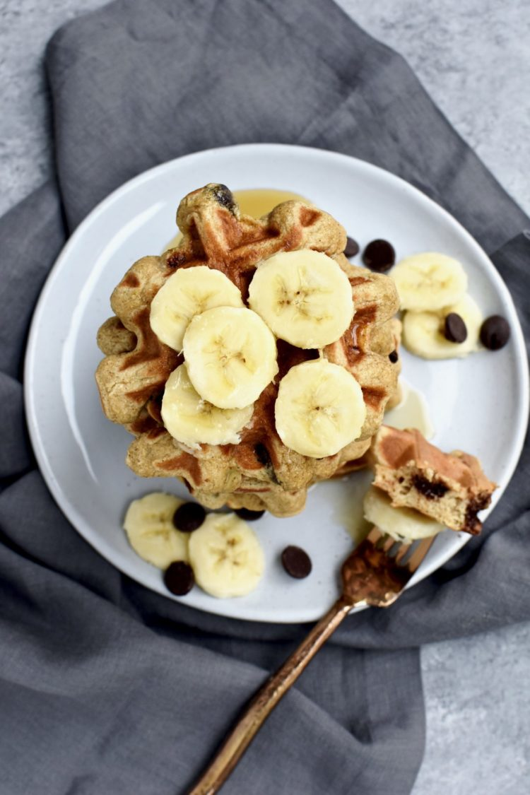whole grain banana chocolate chip waffles // cait's plate