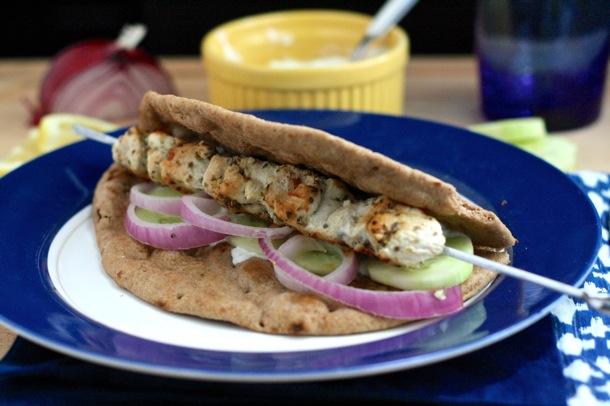 chicken souvlaki with tzatziki sauce // cait's plate