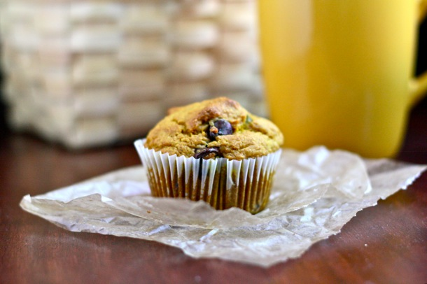 whole grain pumpkin chocolate chip muffins // cait's plate