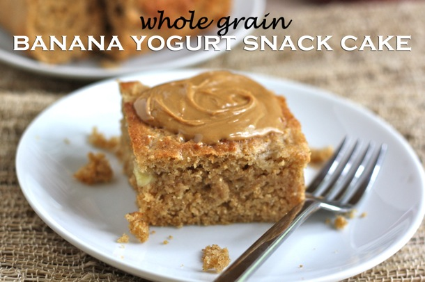 {whole grain banana yogurt snack cake} // cait's plate