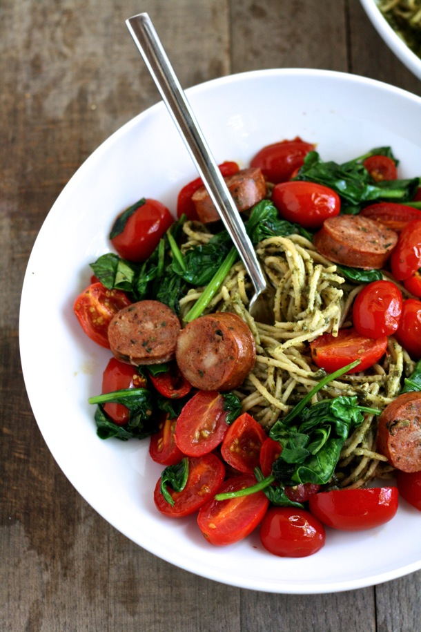 5 Ingredient Whole Wheat Pesto Spaghetti With Sauteed Vegetables And