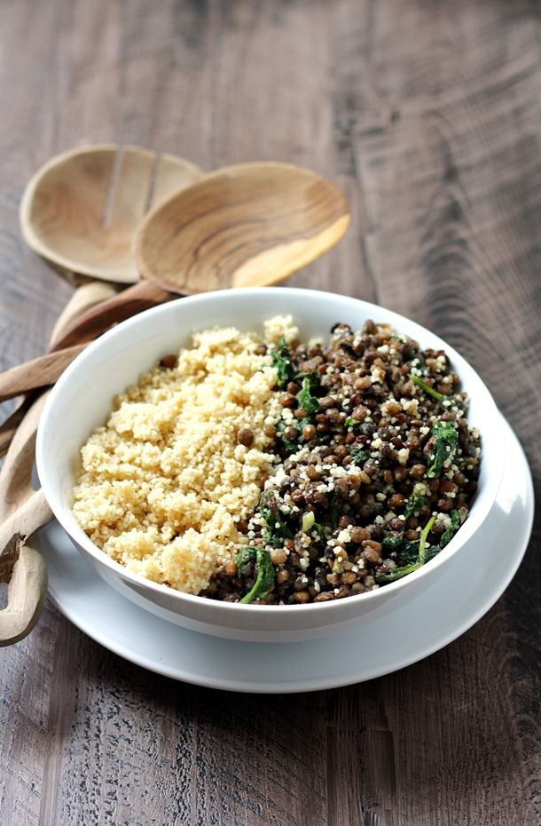steamed lentils with kale over whole wheat couscous - a simple meatless meal that's on the table in minutes! // cait's plate