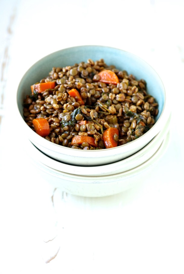 spiced lentil soup with farro & veggies // cait's plate