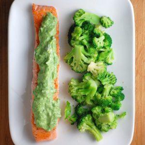 pan-seared salmon with green goddness tzatziki sauce // cait's plate