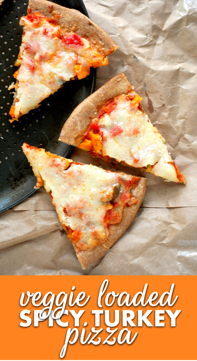 veggie loaded spicy turkey pizza - filling, delicious and made in minutes! // cait's plate