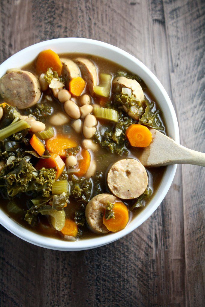 tuscan white bean, kale and sausage soup - loaded with fiber and veggies and made in the crock pot! // cait's plate