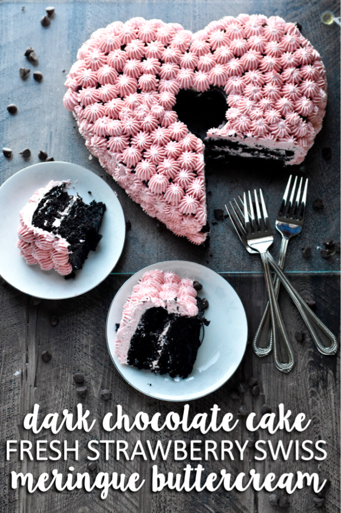 dark chocolate cake with fresh strawberry swiss buttercream // cait's plate