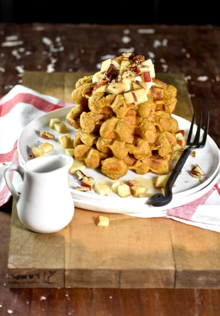 whole wheat pumpkin apple waffles - a delicious autumn twist on an ordinary breakfast // cait's plate